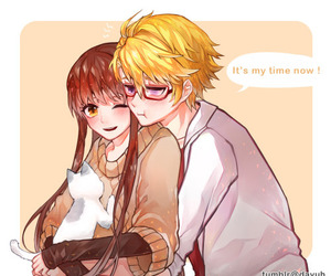mystic messenger, cat, and yoosung kim image