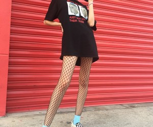 aesthetic, fishnets, and red image