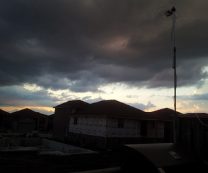 clouds, roof top, and sky image