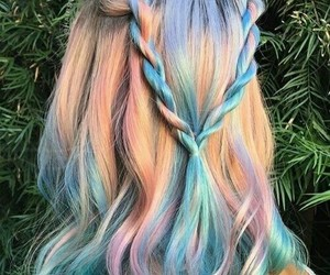 hair, hairstyle, and blue image