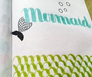 lettering, mermaid, and practice image