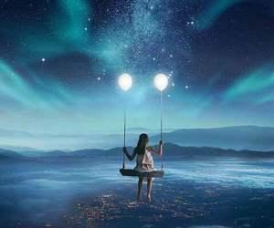 blue, girl, and lights image