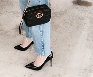 bag, blue jeans, and shoes image