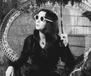 the addams family, black and white, and Morticia Addams image