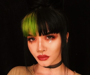 dyed hair and makeup image