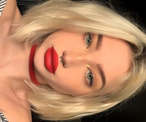 blonde, girl, and red lip image