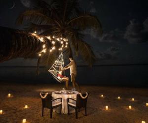 beach, dinner, and romantic image