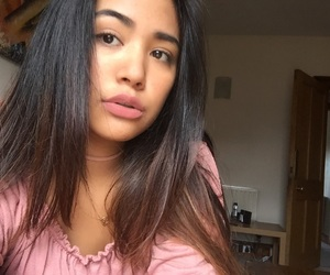 brunette, eyebrows, and lips image