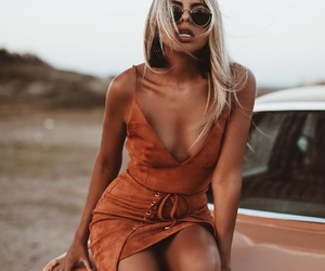 blonde, orange, and dress image