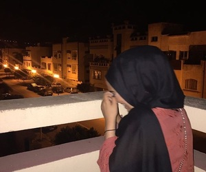 hijab, morocco, and night image
