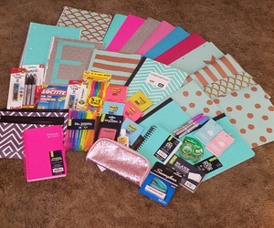 folders, mint, and school supplies image