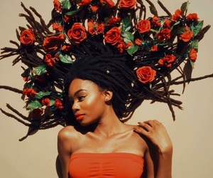 flowers, dreads, and girl image