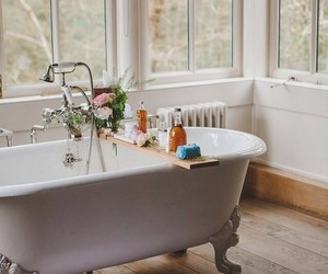 bathroom, clawfoot tub, and country living image
