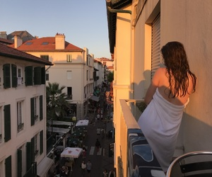 balcony, brunette, and girl image