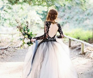 dress, bride, and flowers image