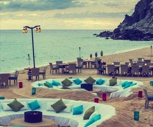 beach, lounge, and ocean image