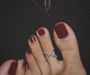 nails, feet, and red image