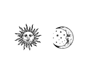 black and white, planets, and sun image