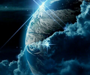 blue, earth, and planet image