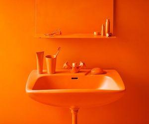 orange, sink, and bathroom image