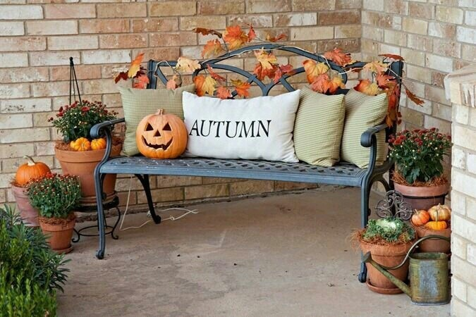 autumn, bench, and pillows image