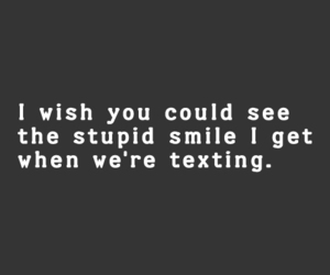 love, smile, and texting image