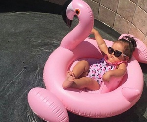baby, flamingo, and fashion image