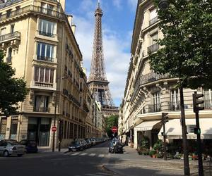 city, eiffel tower, and street image