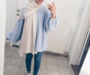 hijab, blue, and fashion image