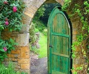 door, secret, and flowers image