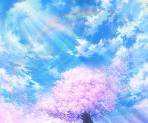 sky, anime, and sakura image