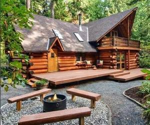 cabin, Houses, and wooden homes image