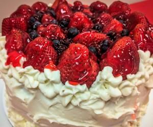 cake, cream, and strawberry image