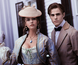 Nina Dobrev, the vampire diaries, and paul wesley image