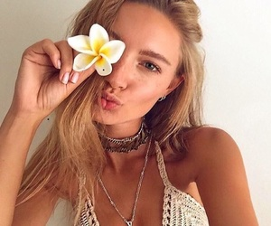 blonde, flowers, and cool image