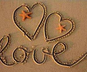 love, sand, and beach image