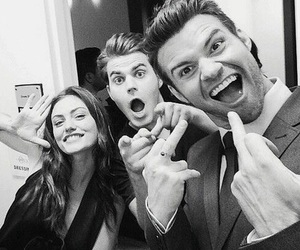 paul wesley, phoebe tonkin, and daniel gillies image