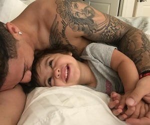 baby, dad, and daughter image