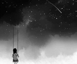 stars, night, and black and white image