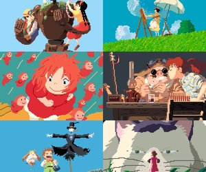 8-bit, howl's moving castle, and studio ghibli image