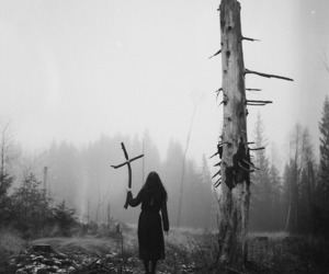 black and white, creepy, and cross image