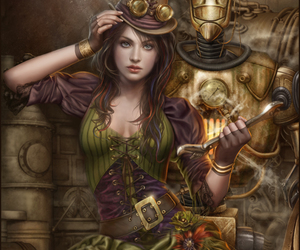 steampunk, robot, and art image