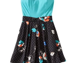 floral, teal, and strapless image