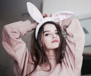 girl, pink, and bunny image