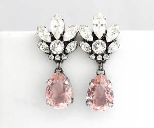 blush, bride, and wedding earrings image