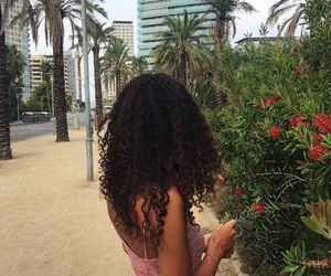 curly hair, beach, and girl image