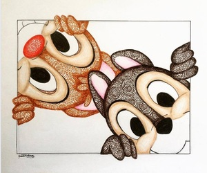 disney, chip and dale, and zentangle art image