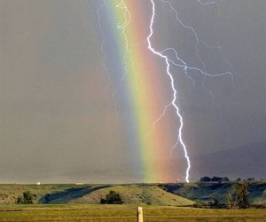 rainbow, lightning, and nature image
