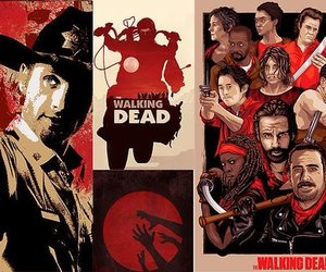 header, red, and the walking dead image