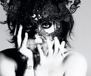 lily allen, mask, and black and white image